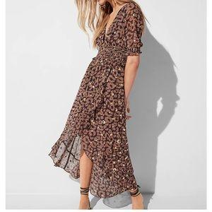 EXPRESS Leopard Smocked Waist Midi Dress High Lo